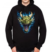 Green Dragon Face Flames Mens Hoodie S-3XL