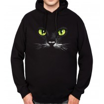 Black Cat Green Eyes Mens Hoodie S-3XL
