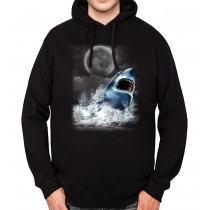 Shark Jumps Out Night Hunting Mens Hoodie S-3XL
