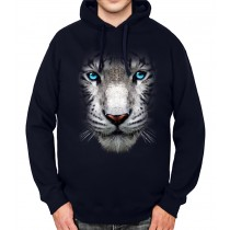 White Tiger Face Blue Eyes Animals Mens Hoodie S-3XL