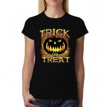 Trick or Treat Halloween Pumpkin Womens T-shirt XS-3XL