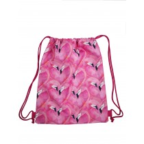 Handmade Drawstring Backpack Waterproof Bag Sport Travel Hiking Flamingo