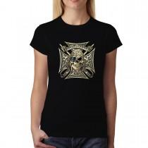 Pirate Skull Eye Patch Womens T-shirt XS-3XL