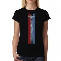 Ford Mustang Logo Stripe Womens T-shirt XS-3XL