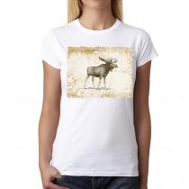 Brown Moose Animals Vintage Women T-shirt XS-3XL New