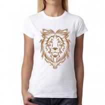 Gold Lion Art Tattoo Womens T-shirt XS-3XL
