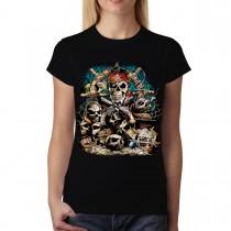 Skull Guns Coins Pirate Women T-shirt S-3XL New