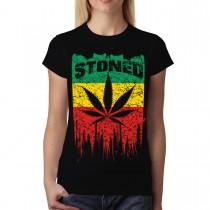 Rasta Flag Stoned Leaf Womens T-shirt M-3XL