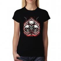 Skulls Chain Spades Womens T-shirt XS-3XL