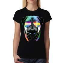 Dj Pug Headphones Animal Funny Women T-shirt XS-3XL