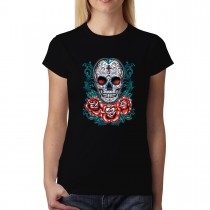 Skull Roses Cross Womens T-shirt XS-3XL