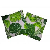 Handmade Pillow Case 100% Cotton 40x40cm Set of 2 Green Leaf