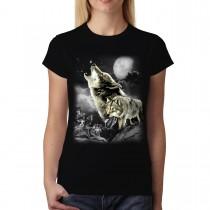 Wild Wolves Moon Women T-shirt XS-3XL New
