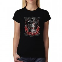 Cowgirl Rosary Skull Day of the Dead Womens T-shirt XS-3XL