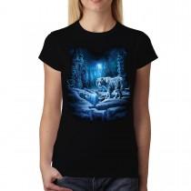 White Tiger Snow Forest Women T-shirt XS-3XL New