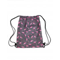 Handmade Drawstring Backpack Waterproof Bag Sport Travel Pink Flamingo