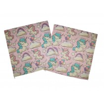 Handmade Pillow Case 100% Cotton 40x40cm Set of 2 Pink Unicorn