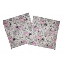 Handmade Pillow Case 100% Cotton 40x40cm Set of 2 Cats Pink