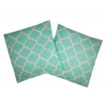 Handmade Pillow Case 100% Cotton 40x40cm Set of 2 Morocco Mint