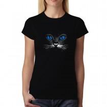 Blue Eyes Black Cat Animals Women T-shirt XS-3XL New
