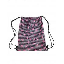 Handmade Drawstring Backpack Waterproof Bag Sport Travel Pink Flamingo