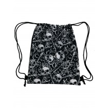 Handmade Drawstring Backpack Waterproof Bag Sport Travel Hiking Skull