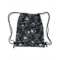 Handmade Drawstring Backpack Waterproof Bag Sport Travel Hiking Skull
