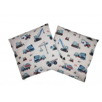Handmade Pillow Case 100% Cotton 40x40cm Set of 2 Construction Machines