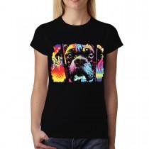 Dean Russo Colourful Dog Choose Adoption Cubism Women T-shirt XS-3XL New