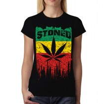 Rasta Flag Stoned Leaf Womens T-shirt M-3XL