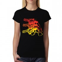 Gun Pistol Revolver Womens T-shirt S-3XL