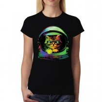 Space Cat Funny Women T-shirt XS-3XL New
