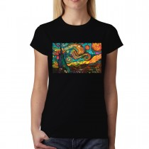 Starry Night Painting Cubism Women T-shirt XS-3XL New