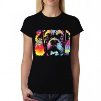 Dean Russo Colourful Dog Choose Adoption Cubism Women T-shirt XS-3XL New
