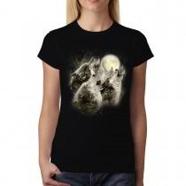 Wolf Howl Full Moon Women T-shirt S-3XL New