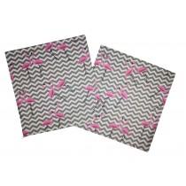 Handmade Pillow Case 100% Cotton 40x40cm Set of 2 Flamingos Pink