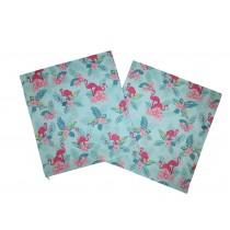 Handmade Pillow Case 100% Cotton 40x40cm Set of 2 Flamingo Mint