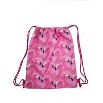 Handmade Drawstring Backpack Waterproof Bag Sport Travel Hiking Flamingo