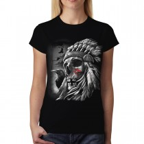 Skull Indian Chief Women T-shirt XS-3XL New