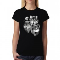 Three Wolves Moonshine Women T-shirt XS-3XL New