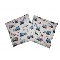 Handmade Pillow Case 100% Cotton 40x40cm Set of 2 Construction Machines